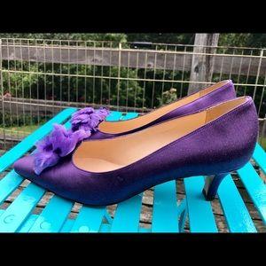 Manolo Blahnik Purple Satin Pumps w/ pouf 7-1/2